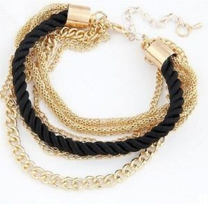 Women Multi Chain Rope Bracelet-Black